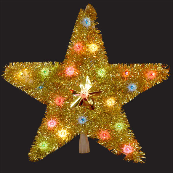 18 Inch Gold Star Tree Top 20 Multi Lights