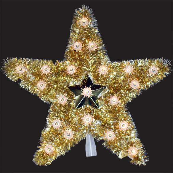 18 Inch Gold Star Tree Top 20 Clear Lights