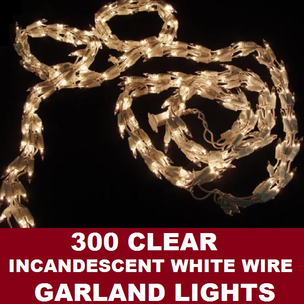 300 Clear Garland Lights White Wire