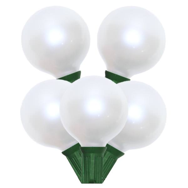 15 Incandescent G50 Globe Pearl White C7 Socket String Light Set Green Wire