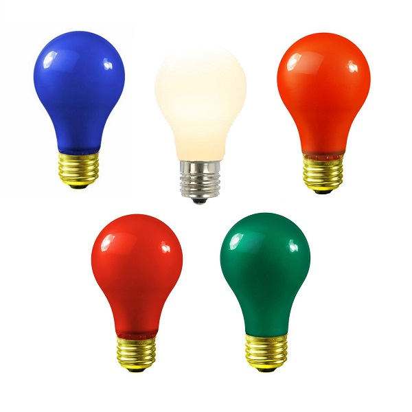 25 Incandescent A19 Multi Color Ceramic Replacement Light Bulbs - 25 Watts