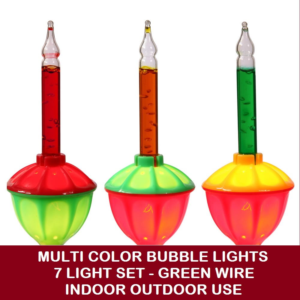 7 Incandescent C7 Multi Color Bubble String Light Set - Green Wire