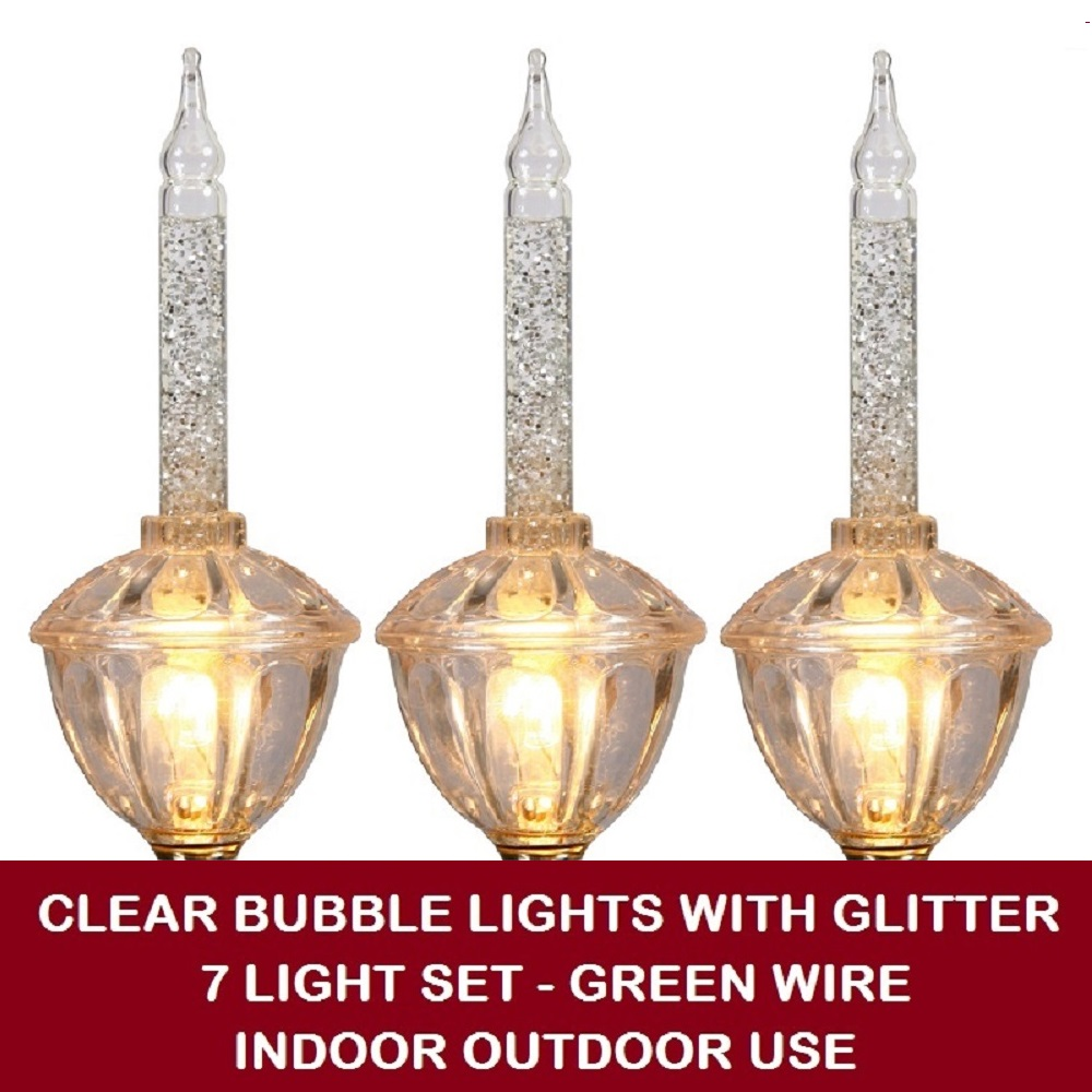 7 Incandescent C7 Clear Bubble Lights with Glitter String Light Set - Green Wire