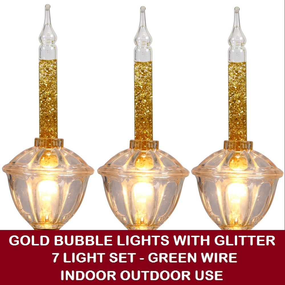 7 Incandescent C7 Gold Bubble Lights with Glitter String Light Set - Green Wire