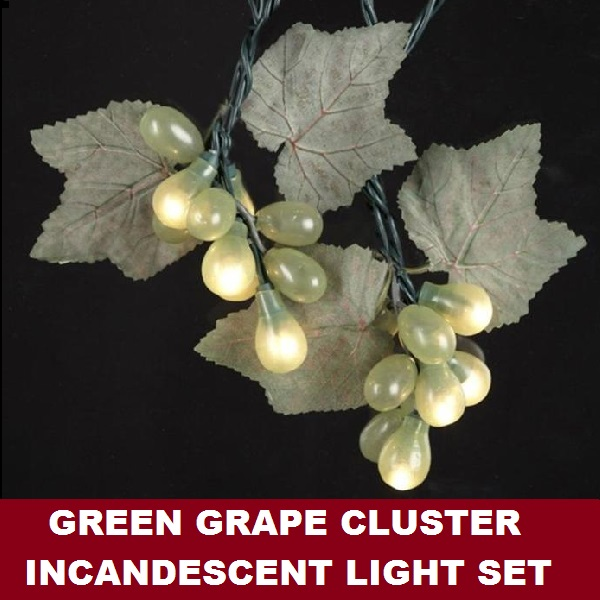 Green Grape Cluster 50 Incandescent Mini String Light Set