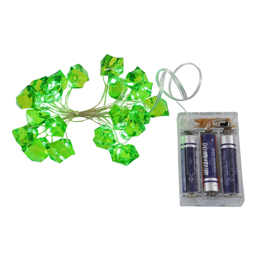 20 Battery Operated LED Ice Cube Green String Light Set 6 Hour Timer