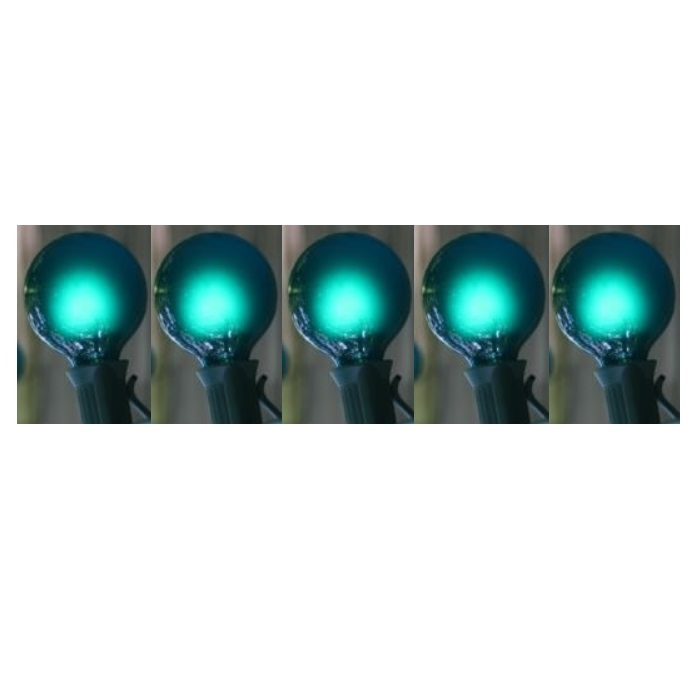 25 LED G30 Globe Teal Ceramic String Light Set 8 Inch Spacing 16 Feet Green Wire