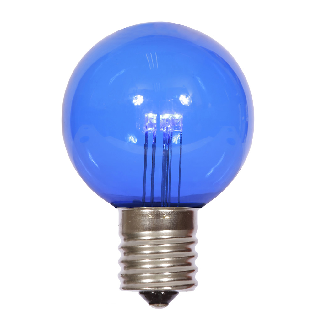 25 LED G50 Globe Blue Transparent Retrofit C9 E17 Socket String Replacement Bulbs