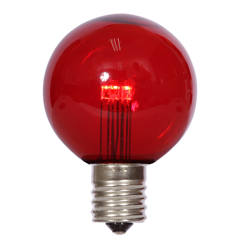 25 LED G50 Globe Red Transparent Retrofit C9 E17 Socket String Light Set Replacement Bulbs
