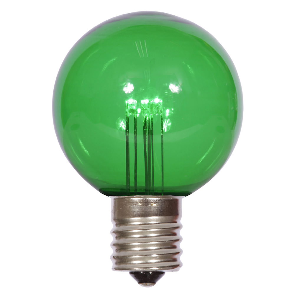 25 LED G50 Globe Green Transparent Retrofit C9 E17 Socket String Light Set Replacement Bulbs