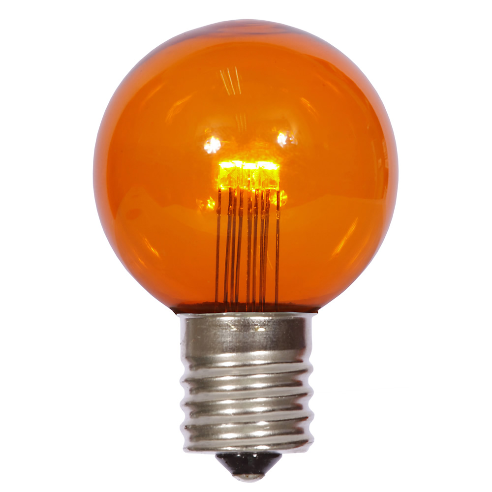 25 LED G50 Globe Amber Transparent Retrofit C9 Socket String Light Set Replacement Bulbs