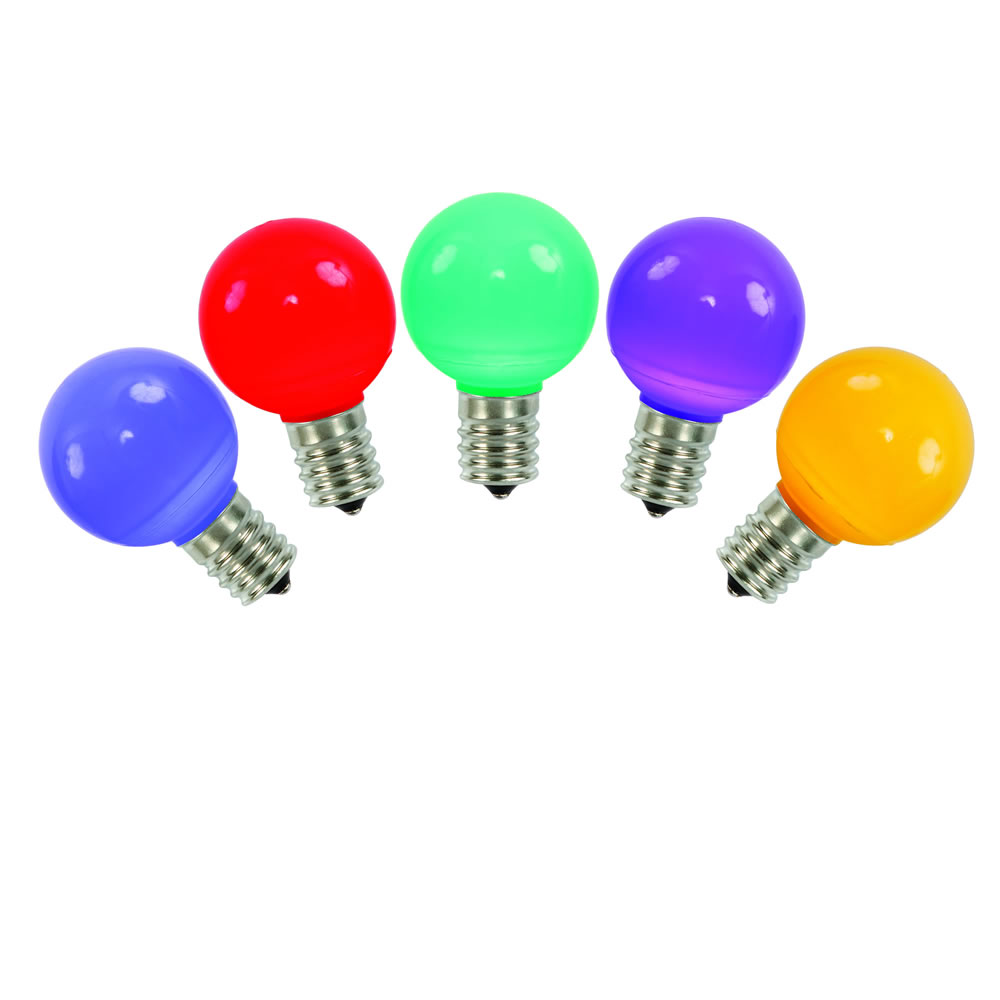 5 LED G50 Globe Multi Color Ceramic Retrofit C9 Socket Replacement Bulbs