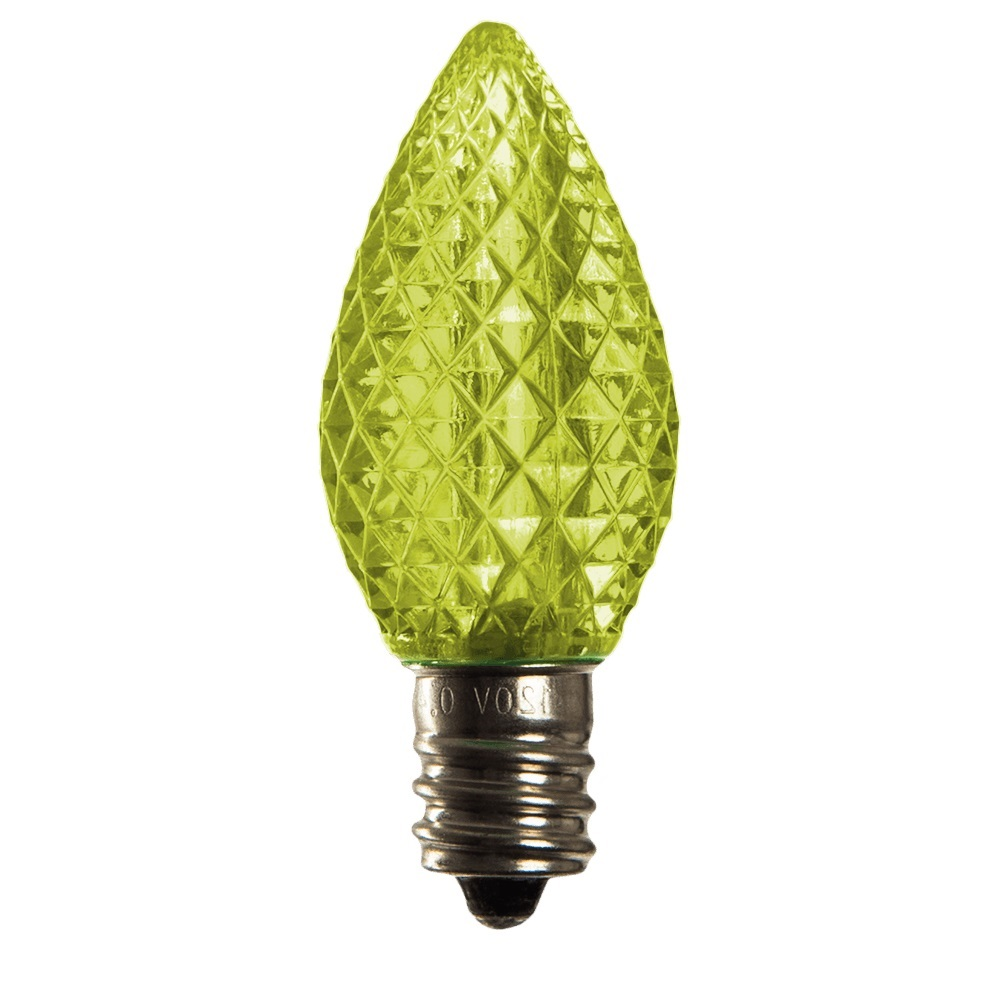 25 LED C7 Lime Green Faceted Retrofit Night Light String Replacement Bulbs