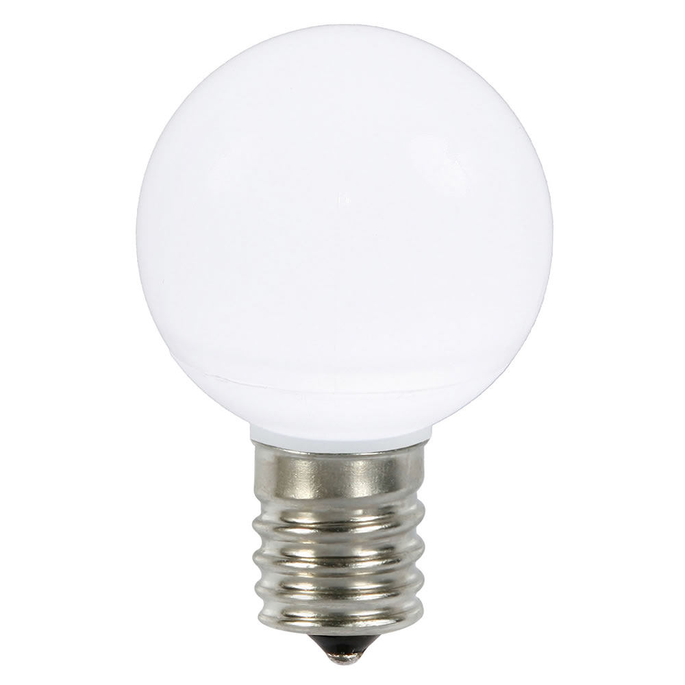 25 LED G50 Globe Pure White Ceramic Retrofit C9 Socket Replacement Bulbs