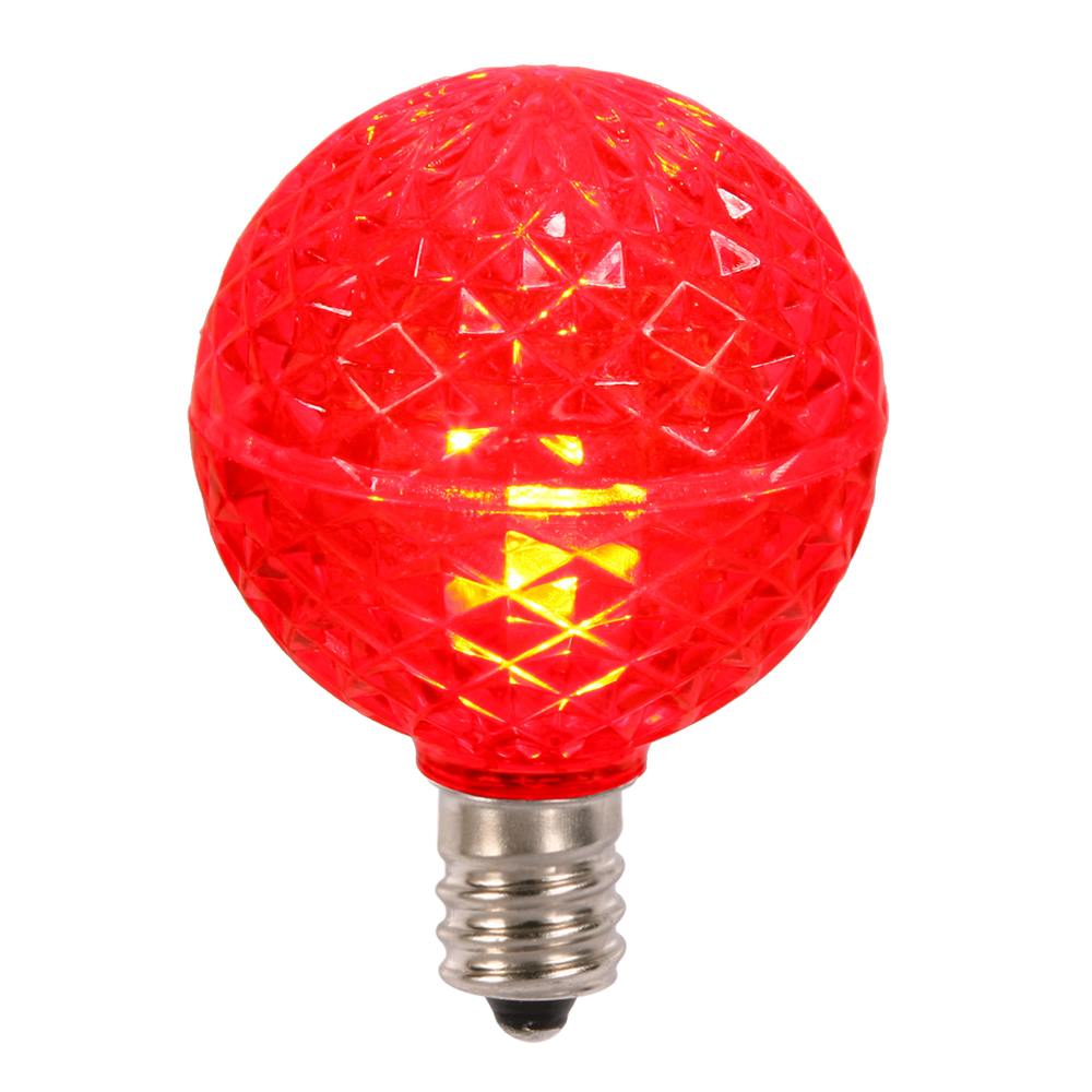 25 LED G40 Globe Red Faceted Retrofit Night Light C7 Socket Replacement Bulbs