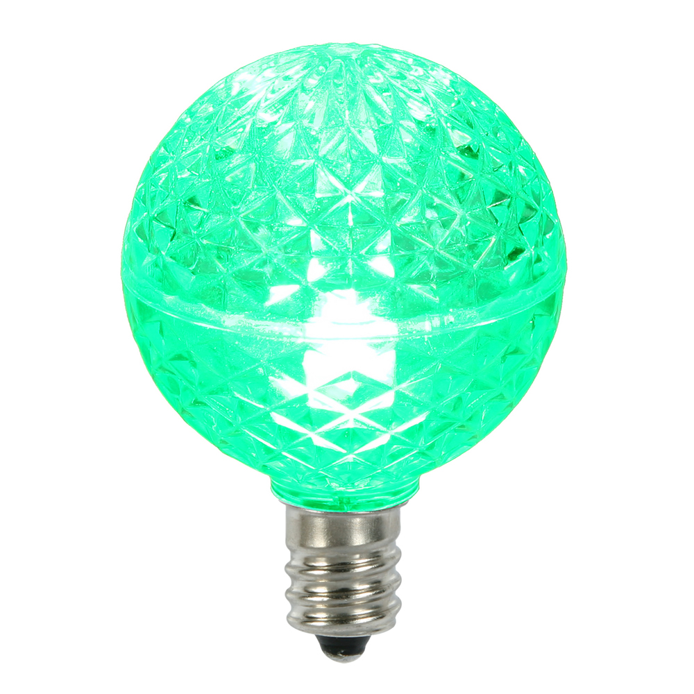 25 LED G40 Globe Green Faceted Retrofit Night Light C7 Socket Replacement Bulbs