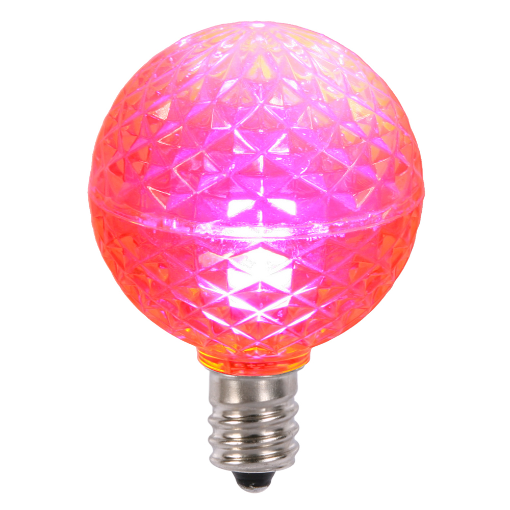 25 LED G40 Globe Pink Faceted Retrofit Night Light C7 Socket Replacement Bulbs
