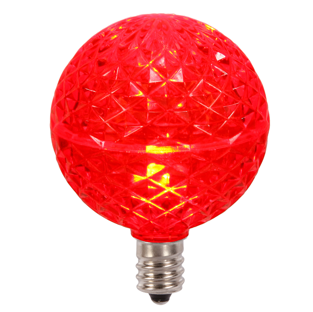 10 LED G50 Globe Red Faceted Retrofit C7 E12 Socket String Light Set Replacement Bulbs