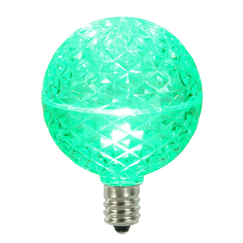 10 LED G50 Globe Green Faceted Retrofit C7 E12 Socket String Light Set Replacement Bulbs