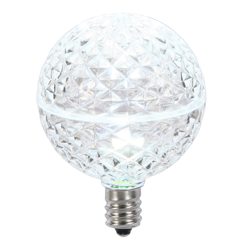 10 LED G50 Globe Cool White Faceted Retrofit C7 E12 Socket String Light Replacement Bulbs