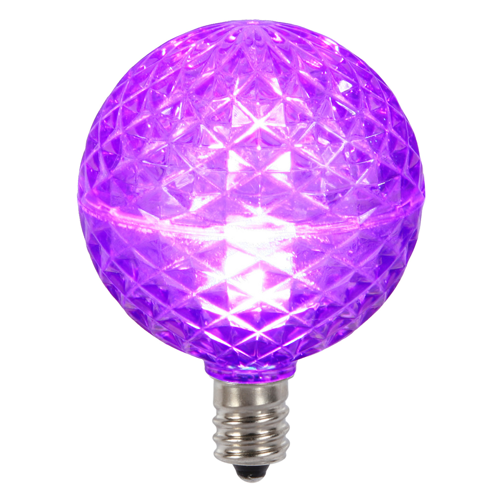 10 LED G50 Globe Purple Faceted Retrofit C7 E12 Socket String Light Set Replacement Bulbs