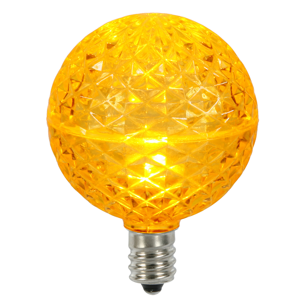 10 LED G50 Globe Yellow Faceted Retrofit C7 E12 Socket String Light Set Replacement Bulbs