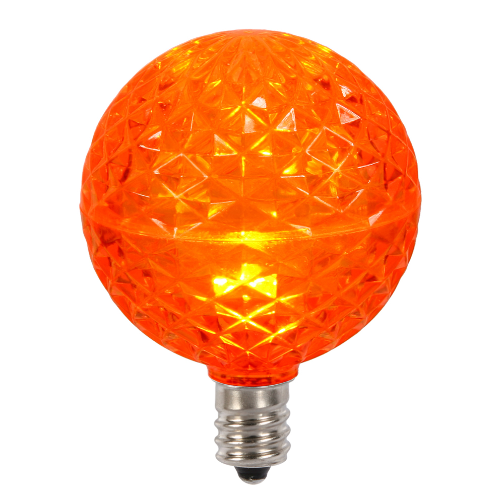 10 LED G50 Globe Orange Faceted Retrofit C7 E12 Socket String Light Set Replacement Bulbs