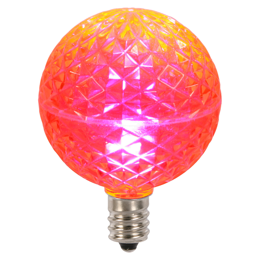 10 LED G50 Globe Pink Faceted Retrofit C7 E12 Socket String Light Set Replacement Bulbs