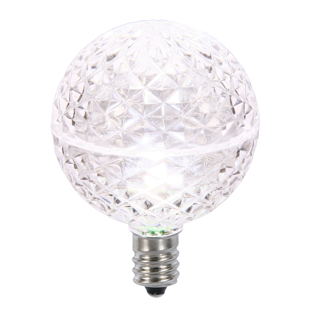 10 LED G50 Globe Pure White Faceted Retrofit C7 E12 Socket String Light Set Replacement Bulbs