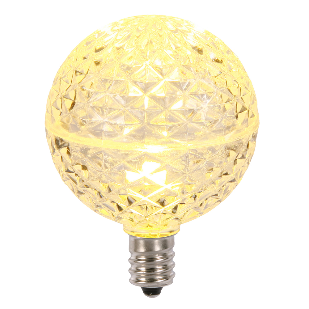 10 LED G50 Globe Warm White Faceted Retrofit C9 E17 Socket String Light Set Replacement Bulbs