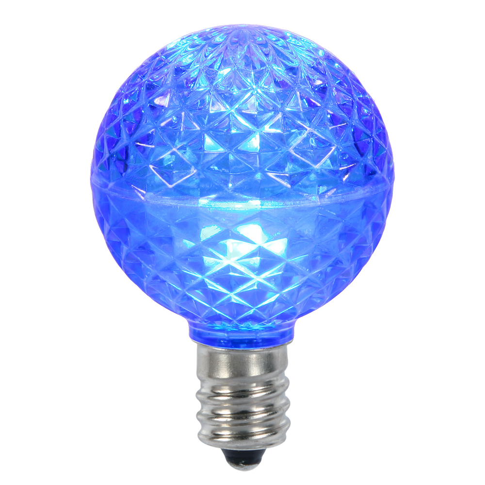 10 LED G50 Globe Blue Faceted Retrofit C9 E17 Socket String Light Set Replacement Bulbs