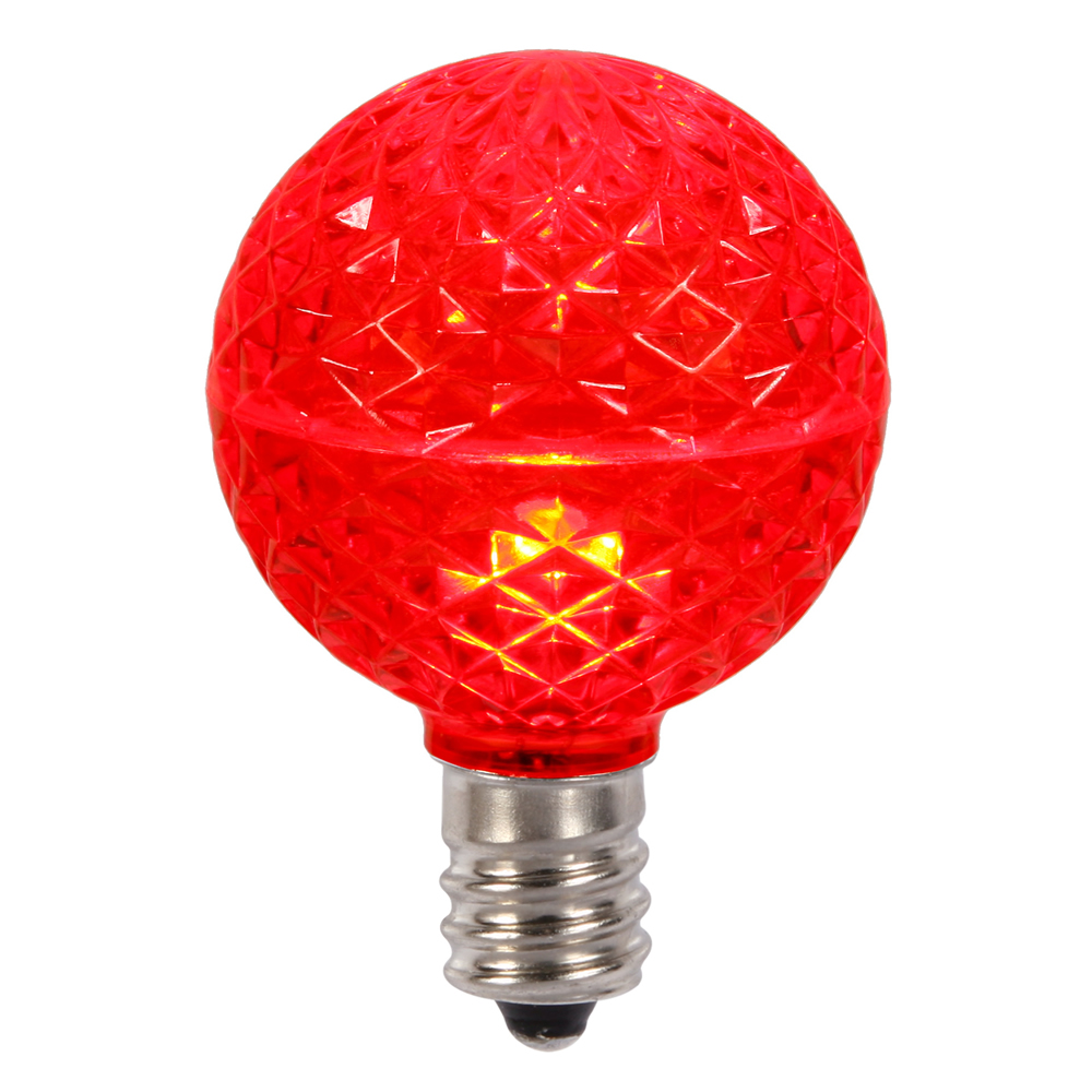 10 LED G50 Globe Red Faceted Retrofit C9 E17 Socket String Light Set Replacement Bulbs