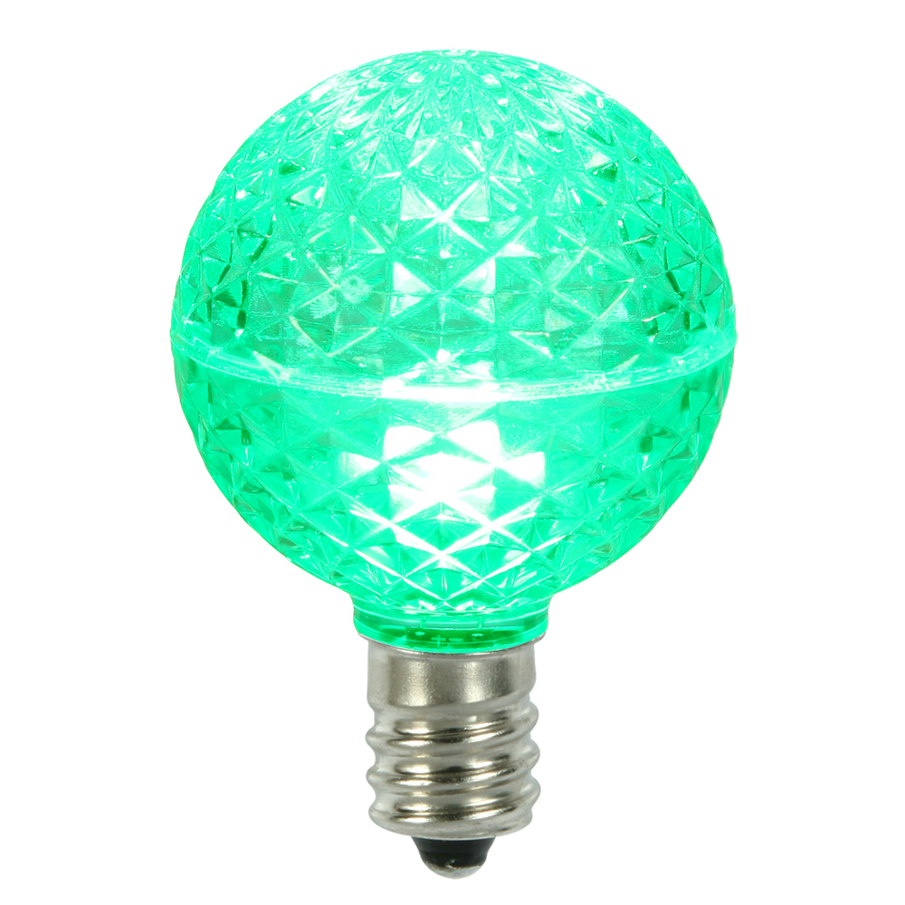 10 LED G50 Globe Green Faceted Retrofit C9 E17 Socket String Light Set Replacement Bulbs