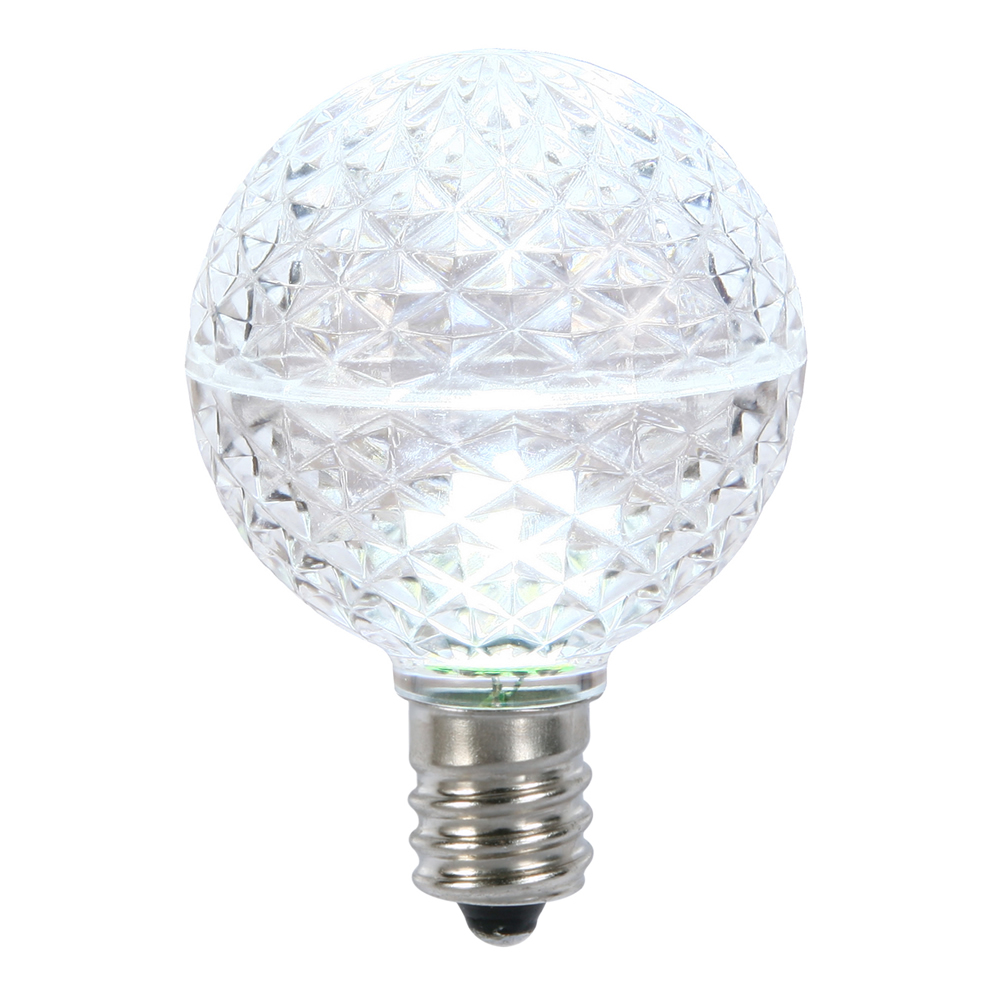10 LED G50 Globe Cool White Faceted Retrofit C9 E17 Socket String Light Set Replacement Bulbs