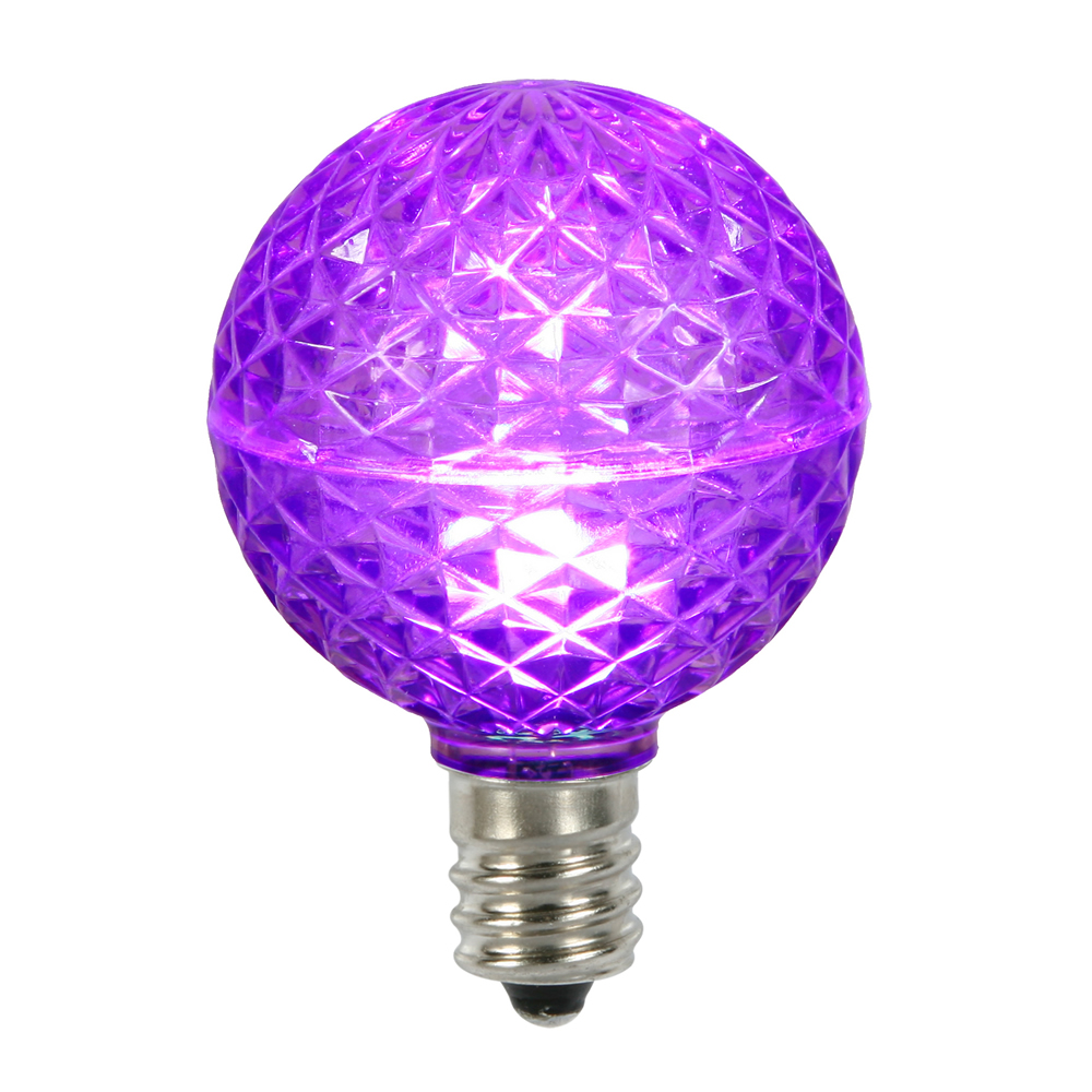 10 LED G50 Globe Purple Faceted Retrofit C9 E17 Socket String Light Set Replacement Bulbs