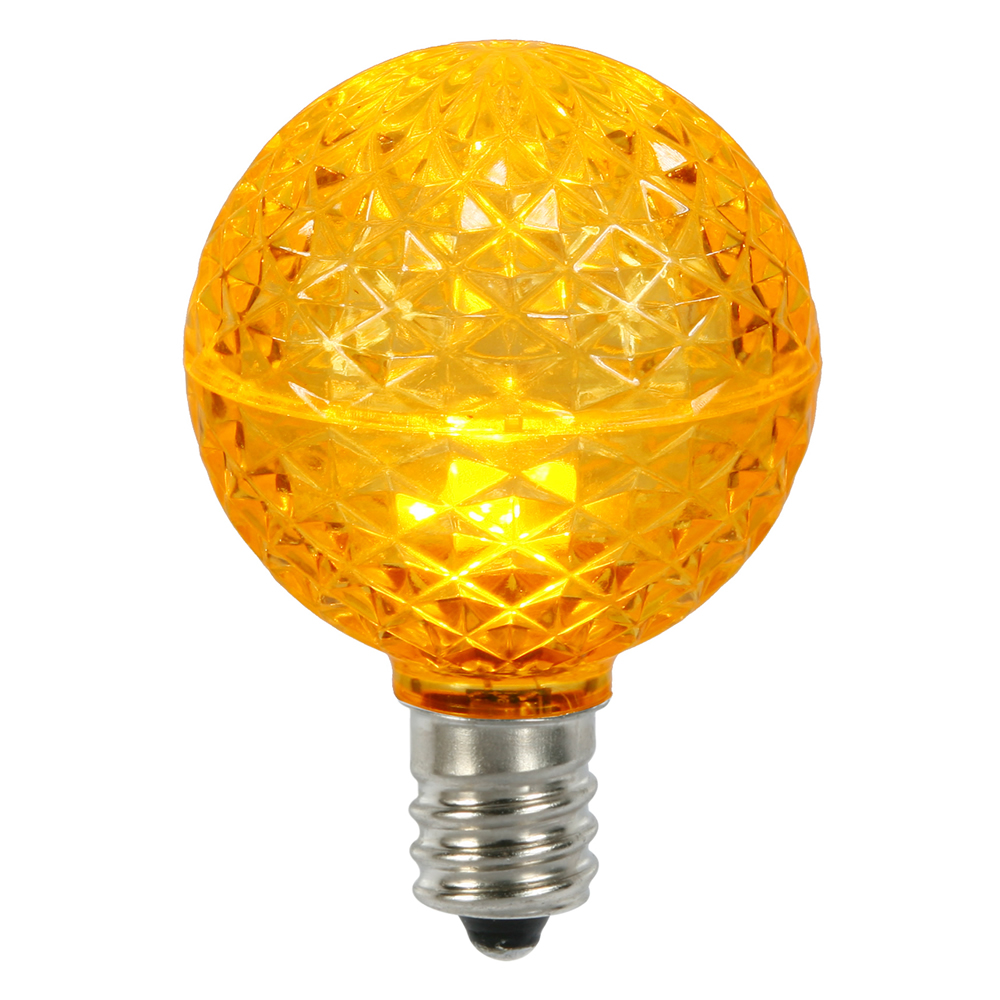 10 LED G50 Globe Yellow Faceted Retrofit C9 E17 Socket String Light Set Replacement Bulbs