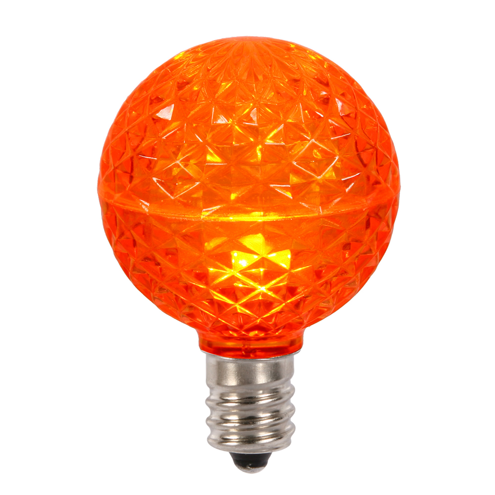 10 LED G50 Globe Orange Faceted Retrofit C9 E17 Socket String Light Set Replacement Bulbs