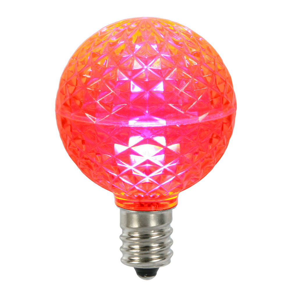 10 LED G50 Globe Pink Faceted Retrofit C9 E17 Socket String Light Set Replacement Bulbs