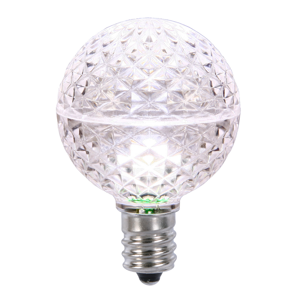 10 LED G50 Globe Pure White Faceted Retrofit C9 E17 Socket String Light Set Replacement Bulbs