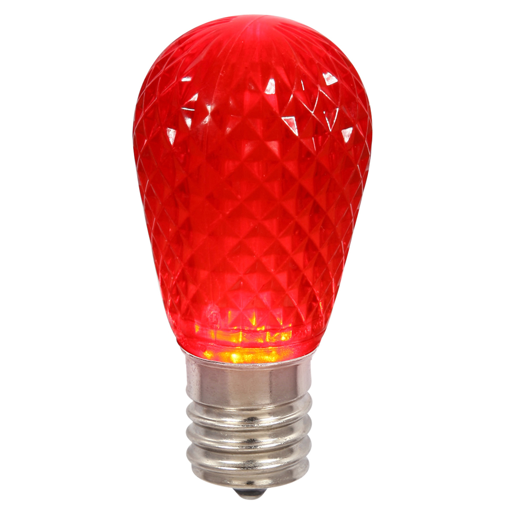 10 LED S14 Patio Faceted Red Retrofit Replacement Bulbs