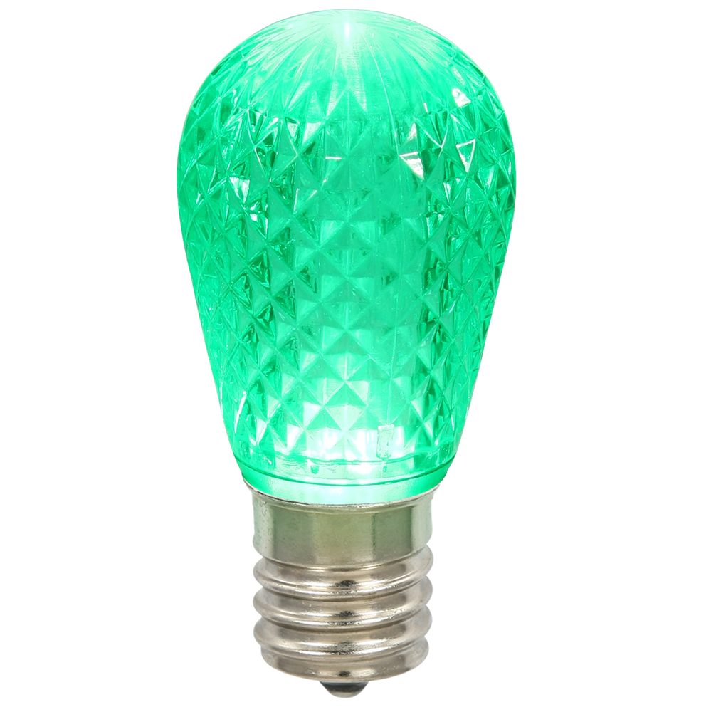 10 LED S14 Patio Faceted Green Retrofit Replacement Bulbs