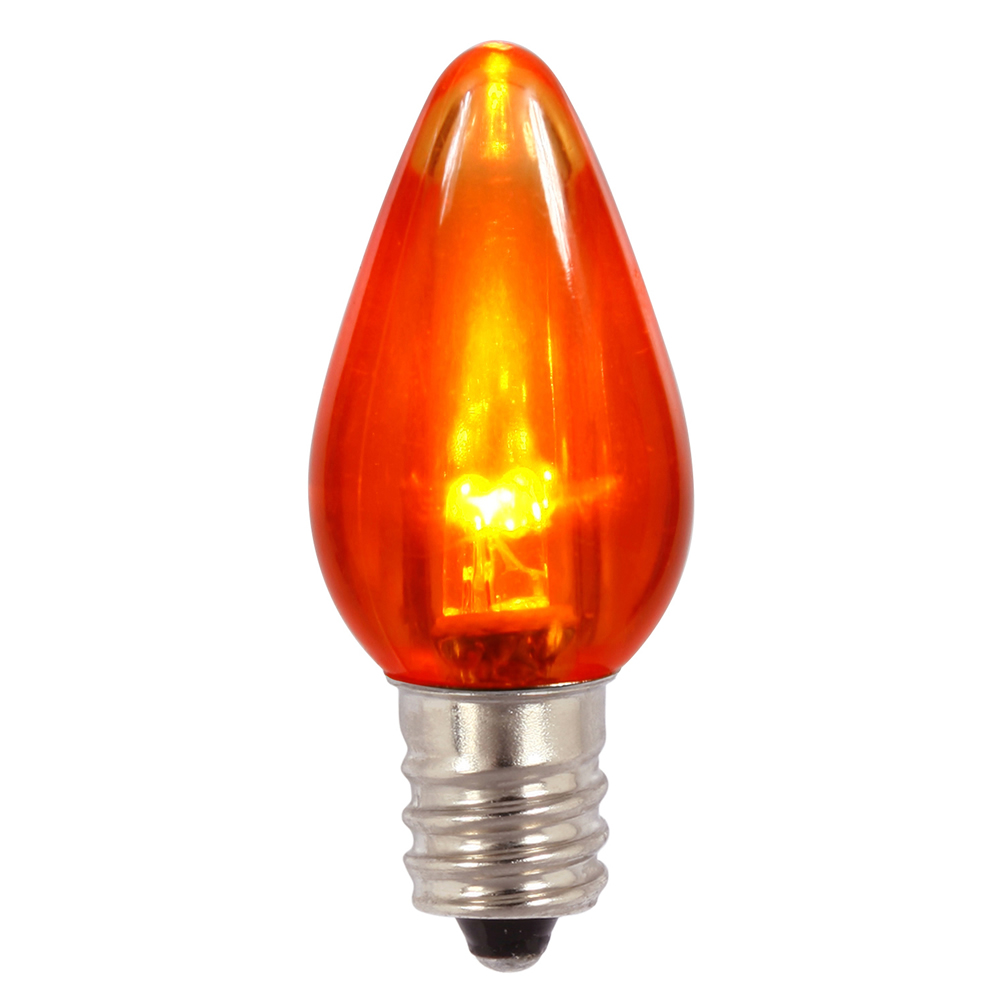 25 LED C7 Orange Transparent Night Light Retrofit Halloween String Replacement Bulbs