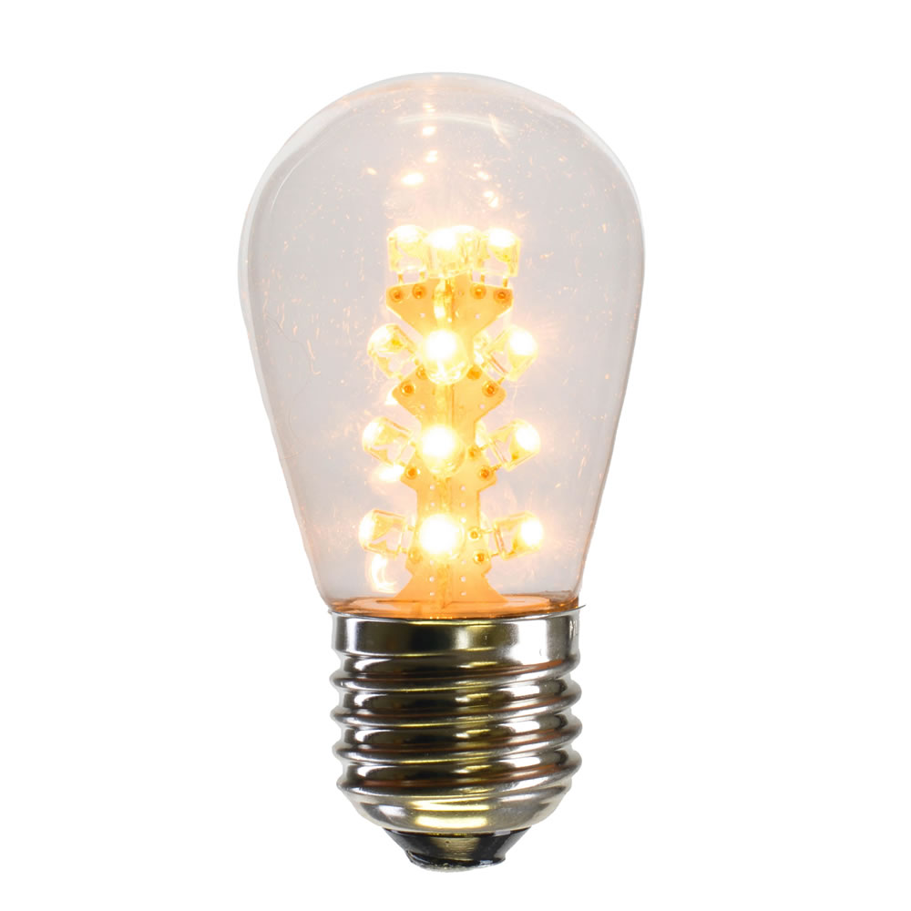25 LED S14 Patio Transparent Warm White Plastic Retrofit Replacement Bulbs