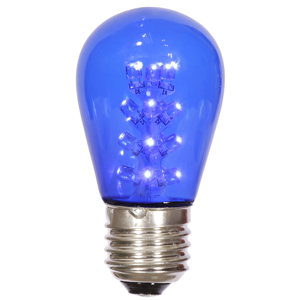 LED S14 Patio Transparent Blue Plastic Retrofit Replacement Bulbs