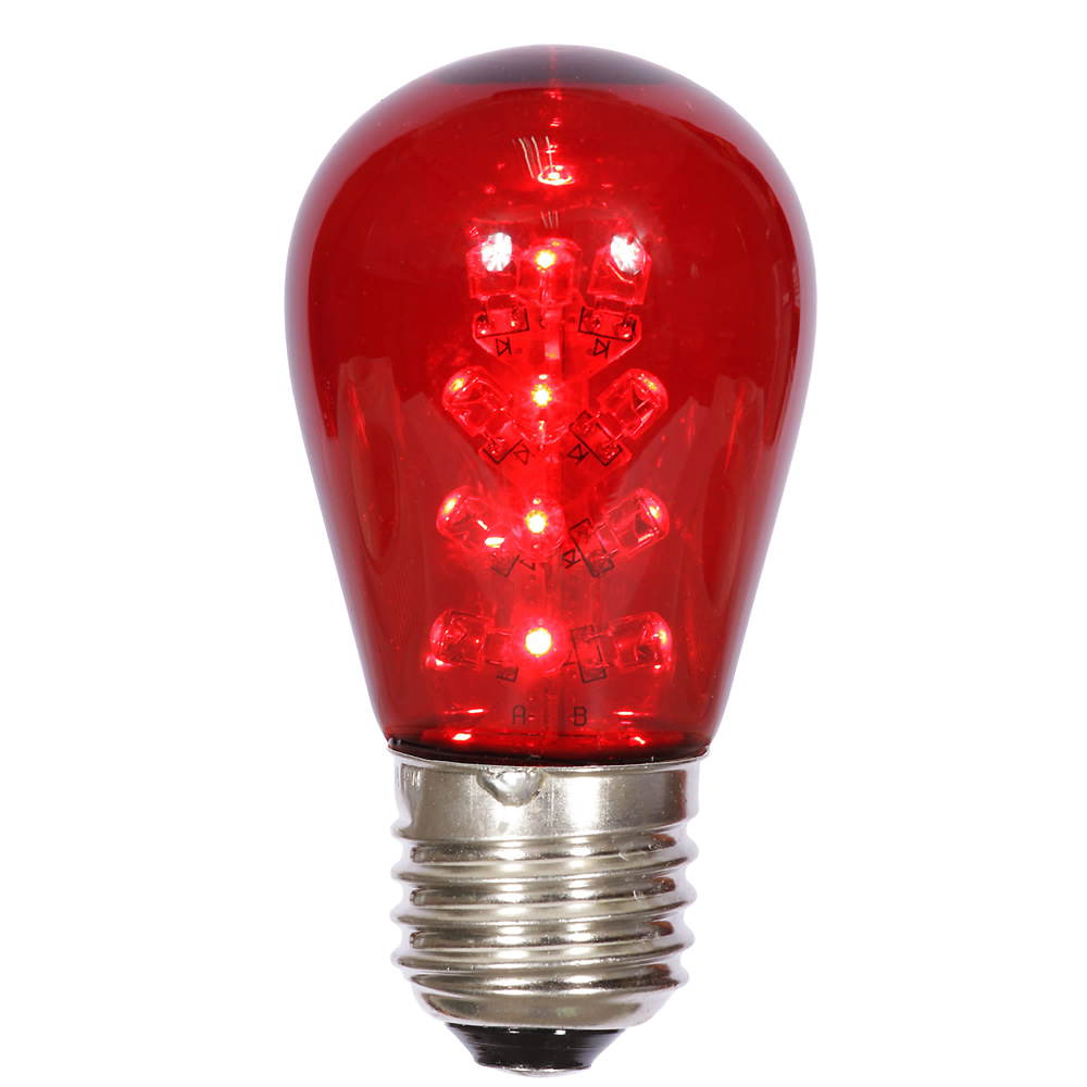 25 LED S14 Patio Transparent Red Plastic Retrofit Replacement Bulbs