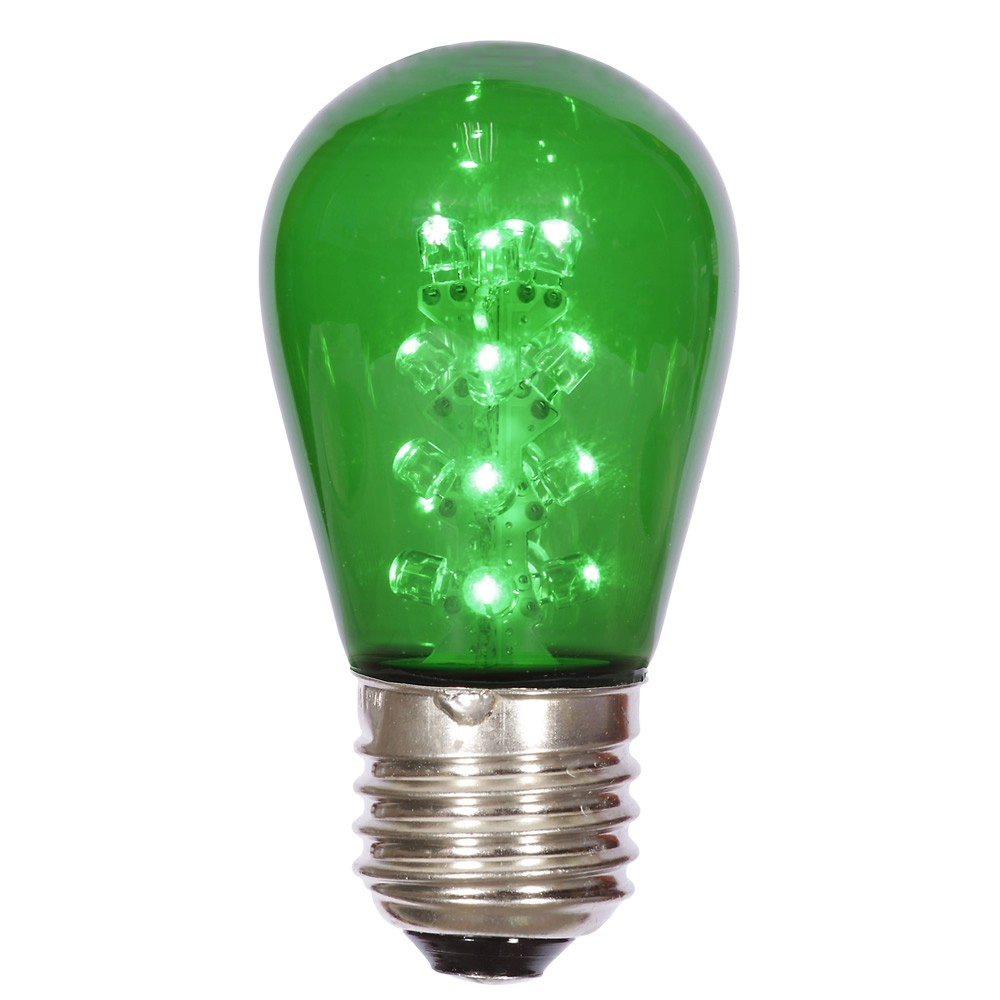 LED S14 Patio Transparent Green Plastic Retrofit Replacement Bulbs