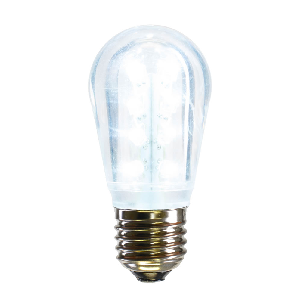 25 LED S14 Patio Transparent Cool White Plastic Retrofit Replacement Bulbs