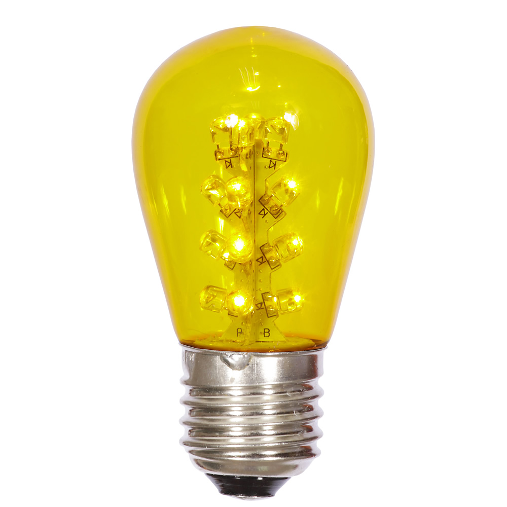LED S14 Patio Transparent Yellow Plastic Retrofit Replacement Bulbs