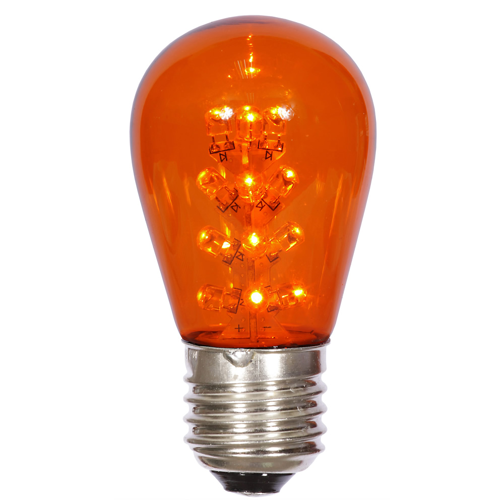 LED S14 Patio Transparent Amber Plastic Retrofit Replacement Bulbs
