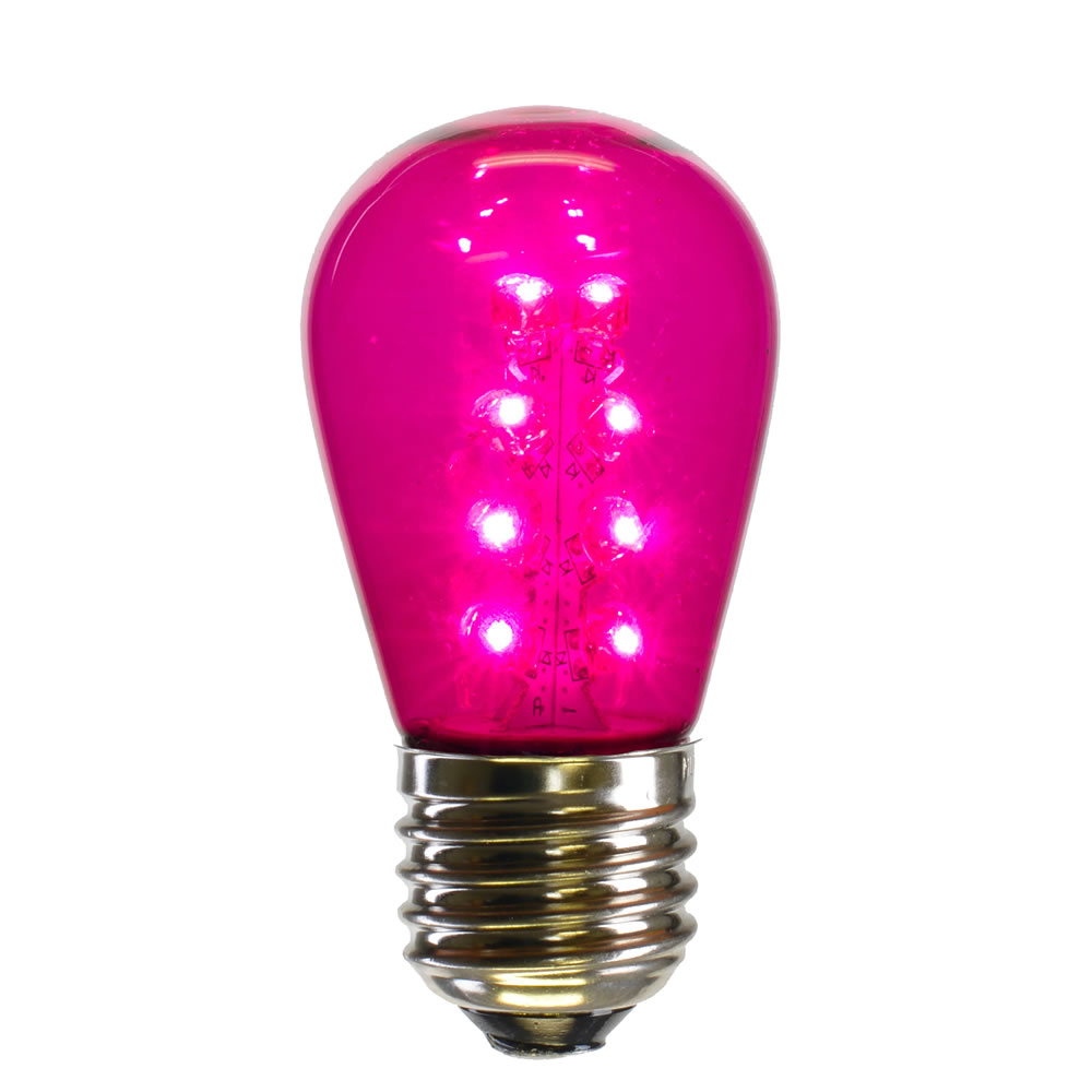 25 LED S14 Patio Transparent Pink Plastic Retrofit Replacement Bulbs